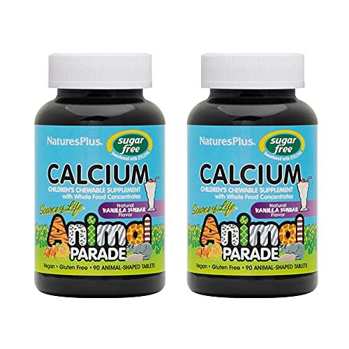 NaturesPlus Animal Parade Sugar-Free Calcium, Vanilla Sundae Flavor - 90 Animal-Shaped, Chewable Tablets - Pack of 2 - Promotes Healthy Bones - Vegan, Gluten Free - 90 Total Servings