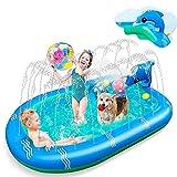 3 En 1 Splash Pad Asperja A Los Niños, Piscina Al Aire Libre Piscina Aspersión Inflable Pool Splash Mat, Juguetes De Agua De Verano Sprinkler Point Wading Pool Para Niñas Y Niños ( tamaño : 67in )