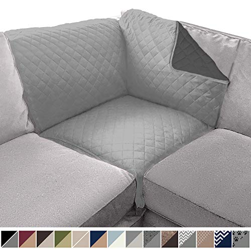 Sofa Shield Original Patent Pending Reversible Sofa Corner Sectional Protector, 30x30 Inch, Washable Furniture Protector, 2 Inch Strap, Sectional Corner Slip Cover for Pets, Dogs, Light Gray Charcoal