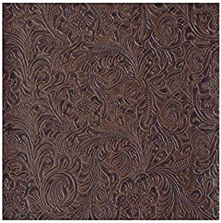 54'' Wide Faux Leather Fabric Tooled Floral Chocolate By The Yard