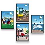 BADIDO Wandbilder Fahrzeuge für Kinderzimmer   4er-Set