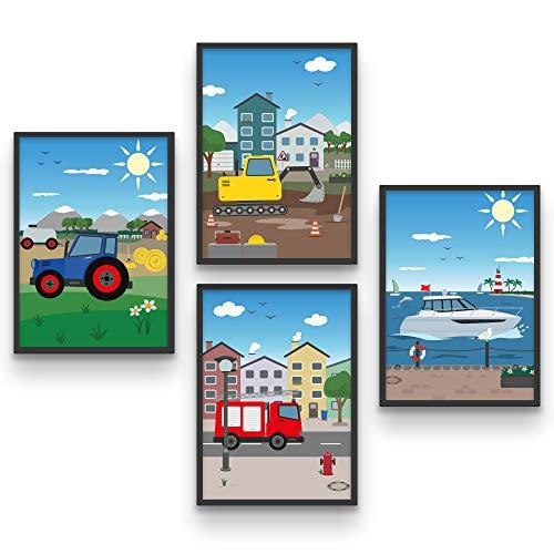 BADIDO Wandbilder Fahrzeuge für Kinderzimmer | 4er-Set Feuerwehr, Boot, Bagger, Traktor | Wendebild Tag/Nacht für Junge, Mädchen | DIN A4