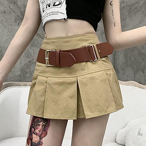 WRYIPSF Harajuku Punk Falda Mujeres Preppy Style Streetwear Mall Goth Grunge E-Girl High Cintura con El Cinturón Jk Falda