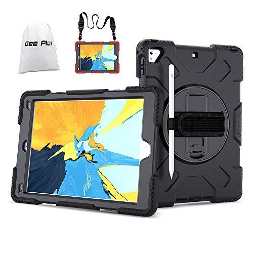 Dee Plus Hülle für iPad 9.7 2018/2017, iPad Pro 9.7 / iPad air 2 Heavy Duty Ganzkörper-Rugged PC Silikon Schutzhülle mit Verstellbar Schultergurt Eingebauter 360 Grad Rotierend Stand Cover
