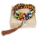 Mala Beads,108 Tiger Eye Gemstone Stone Wrist Mala Bracelet Necklace Tibetan Prayer Bead(Tiger Eye,Tree)