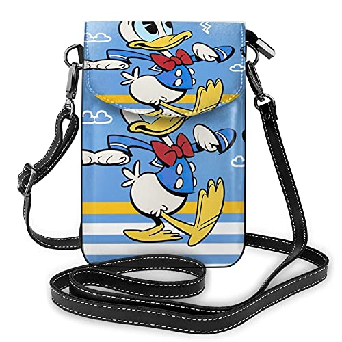 XCNGG Monedero pequeño para teléfono celular Women's Small Crossbody Bag with Shoulder Strap,Lovely Donald Duck Walks Small Cell Phone Purse Wallet with Credit Card Slots