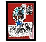 Rzhss Basquiat Logo Arte De La Pared Lienzo Impresión De Bellas Artes Lienzo De Pintura Imágenes Impresiones En Lienzo Baño Arte Para El Hogar Decoración De Pared -20X28 Pulgadas Sin Marco 1 Pcs