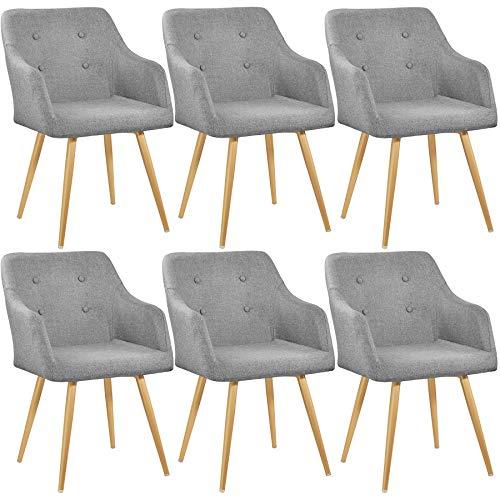 TecTake 800785 Set 6X Sedia da Pranzo rétro, Aggraziato Design, Elevato Comfort di Seduta, Resistente Rivestimento in Stoffa - Disponibile in Diversi Colori (Grigio)