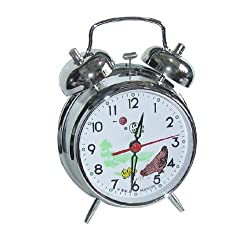 Arctic Star UQ Vintage Mechanical Wind Twin Bell Alarm Clock, Silver