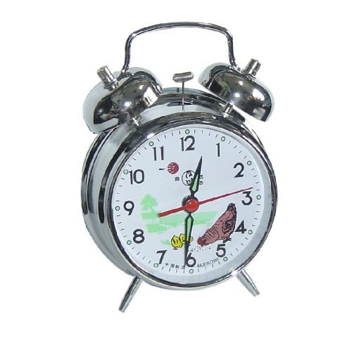 Arctic Star UQ Vintage Mechanical Wind Twin Bell Alarm Clock, Silver