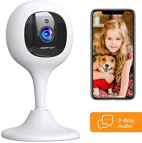 APEMAN Babyphone mit Kamera, 1080P WLAN Kamera und Überwachungskameras mit Nachtsicht Fernüberwachung kompatibel mit IOS/Android und Arbeitet mit Alexa