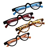 MINCL/Flat Top Half Frame Oval Reading Glasses for Women 2019 New Hyperopia Diopter Reading EyeglassesWith Box +1.0 to 4.0 (Leopard, 150)