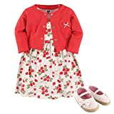 Hudson Baby Baby Girl Cotton Dress, Cardigan and Shoe Set, Strawberry, 0-3 Months