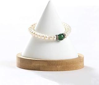 Conical Bamboo Bangle Bracelet Watch Display Stand Jewelry Holder Organizer (White pu)