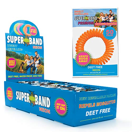 SUPERBAND Premium Neon Mosquito Repellent Bracelet - Natural Insect & Bug Repellent Band - DEET Free & Waterproof - For Kids & Adults - Individually Wrapped - One Size Fits All - (Pack of 50)