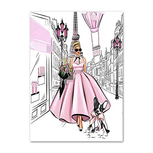 KDSMFA Libro de perfume para niña, maleta, póster nórdico, bloque de color, arte de pared, lienzo para decoración de la sala de estar, 60 x 80 cm, sin marco