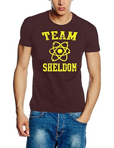 Coole-Fun-T-Shirts T-Shirt Team Sheldon - Big Bang Theory ! Vintage Slimfit, braun gelb, XXL, 10748_Braun_Gelb_SLIM_GR.XXL