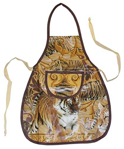Werkenschürze abwaschbare Latzschürze Schürze aus Wachstuch Motiv Tiger, Größe:M