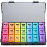 Weekly Pill Organizer 3 Times A Day, Large Gelibo Daily Pill Cases Box for Vitamin/Fish Oil/Pills/Supplements-Arthritis Friendly (Black)