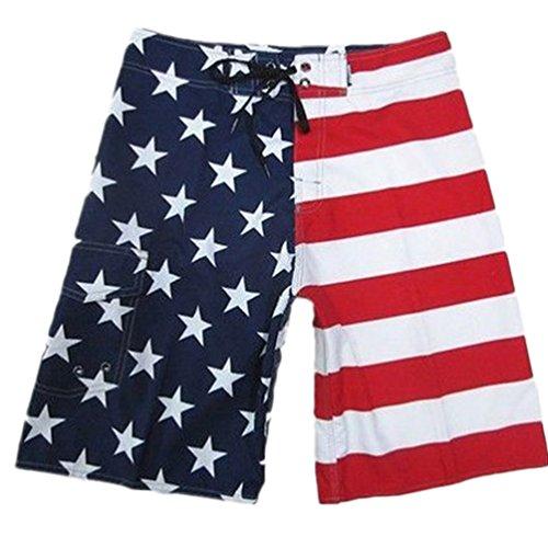 Baymate Herren Lange Badeshorts USA Flagge Stil Surf-Shorts Badeshorts Rot 38