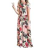 YIJODM Girls Floral Maxi Dress, Flower Printed Short Sleeves Dress with Pockets Summer Long Holiday Dress Pink