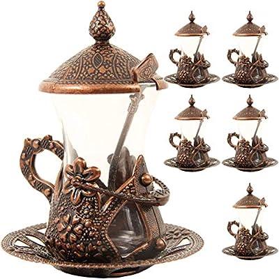 (SET OF 6) Handmade Turkish Tea Water Zamzam Serving Set Glasses Saucer (Copper)