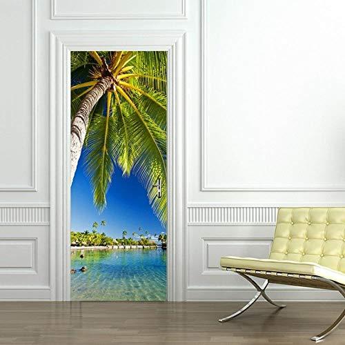XLXYD deursticker, afbeeldingen, landschap, zonsondergang, beach, plantenlandschap, deurposter, 3D-deurstickers, decoratiefolie, zelfklevend, deurfoto, deurstickers, groen blad, afbeelding, doe-het-zelf, afmetingen 77 x 200 cm A1.