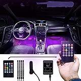 MILANIKA Auto Innenbeleuchtung LED 12V - [4x] LED Streifen mit jeweils [12x] LED Lampen - mit Zigarettenanzünderverbindung & Fernbedienung - inkl. [10x] Kabelbinder & Kabelhalter