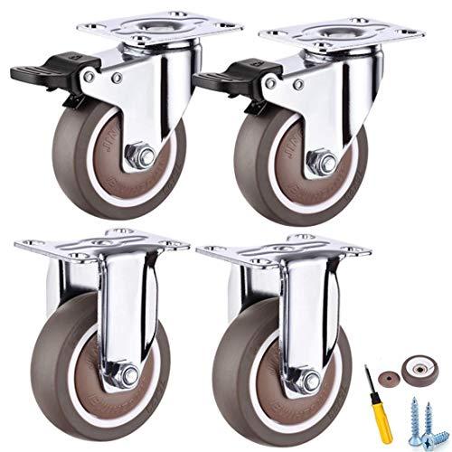 XHNXHN Ruedas resistentes, ruedas móviles, ruedas giratorias con bloqueo de seguridad, ruedas giratorias para muebles y banco de trabajo, ruedas sin ruido, 4 piezas+universal50 mm/2 pulgadas