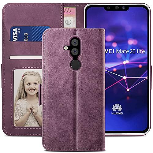 YATWIN Coque pour Huawei Mate 20 Lite, Housse en Cuir Mate 20 Lite, Étui Téléphone Mate 20 Lite avec [Fermoir Magnétique] [Carte Fente] [Fonction Support] Housse pour Huawei Mate 20 Lite, Vin Rouge