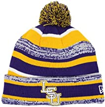 New Era LSU Tigers Tide Players & Coaches Sideline Knit Cuff Beanie w/Pom NCAA Authentic Cap Hat - Purple/Gold
