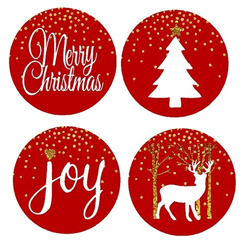 48pack Red Merry Christmas Joy Deer Tree Assortment Stickers Labels Envelope Decorative Seals -1.5inch