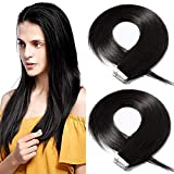 14'(35cm) SEGO Extensiones Adhesivas Pelo Natural 40PCS [#1B Negro Natural] 100% Remy Cabello Humano sin Clip Tape in Hair Balayage (80g)