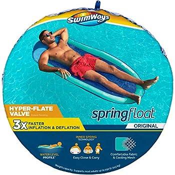 SwimWays Spring Float Original Pool Lounge Chair with Hyper-Flate Valve Aqua