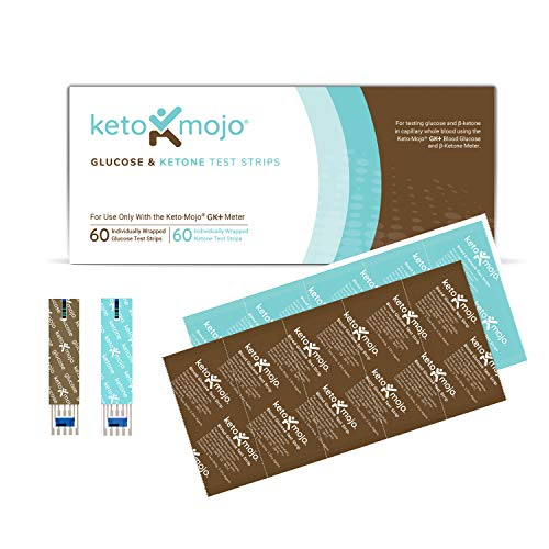 The New GK+ Meter | 60 Blood Glucose | 61 Blood Ketone(120ct) by KETO-MOJO Testing Strip Combo Pack for the ONLY Testing |