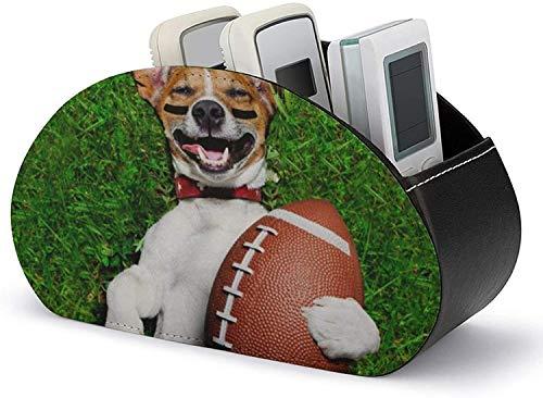 Caja organizadora de cuero de PU para control remoto de TV, patrón de perro de fútbol americano, almacenamiento y organizador de accesorios multimedia para controles remotos de TV / controladores de