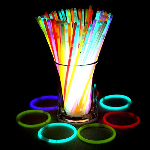 """Bukm Luces químicas, 8 """"Glow Stick Pulseras Light Sticks Collares Party Pack Mezcla de Colores para Halloween, Fiestas, Bodas, Bares Party Favors (Tubo de 100)"""