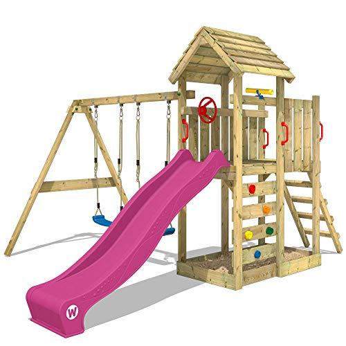 WICKEY Parque infantil de madera MultiFlyer con columpio y tobogán violeta, Torre de escalada da exterior con arenero y escalera para niños