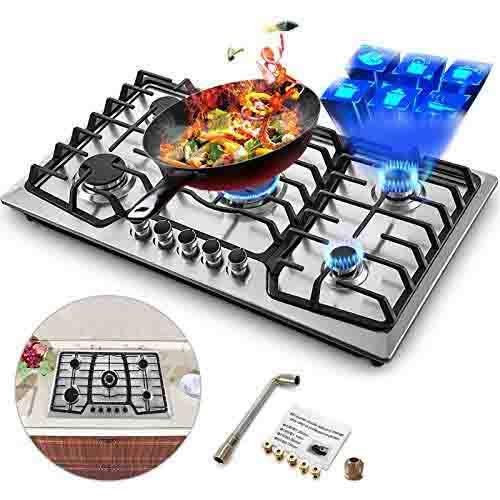 Happybuy 36x21 inches Built 5 Burners Stove Stainless Steel Hob With Liquid Propane Conversion Kit...