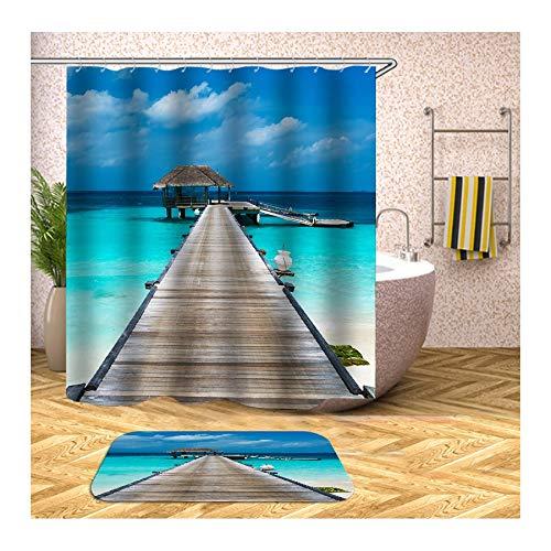 Anwaz - Cortina de ducha y alfombra de baño antimoho de poliéster, diseño de carpa marina, cortina de baño con 12 anillas para cuarto de baño, poliéster, carbón, 165x180CM