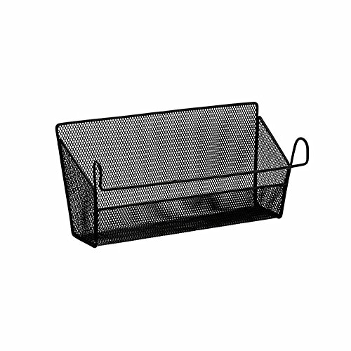 Shelf Baskets, Yamix Office Table Dormitory Bedside Hanging Storage Supplies Desktop Corner Shelves Basket Organizer Holder Containers with Hook - Black
