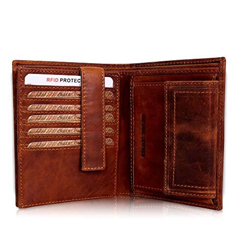 Corno d´Oro Leder Geldbörse Herren TÜV-geprüfter RFID I Großer Geldbeutel Männer I Vintage Portemonnaie braun in Geschenkbox 30006NC