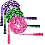 BAEONY 3 Pack Adjustable Skipping Rope Soft Beaded Segment Tangle-Free Jump Rope with Anti-Slip Grip Suitable for Men, Women and Kids Keeping Fitness, Training and so on