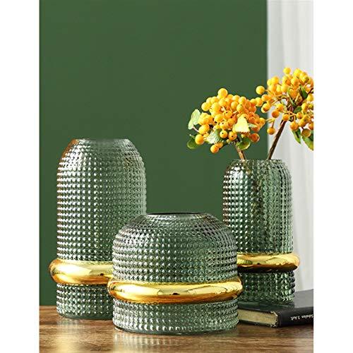 JSJJAES Florero de Cristal Cintura Creativa de Oro jarrón de Cristal Vintage en Relieve en Relieve Flores hidropónico Flores macetas escandinavas decoración del hogar (Color : Green S)