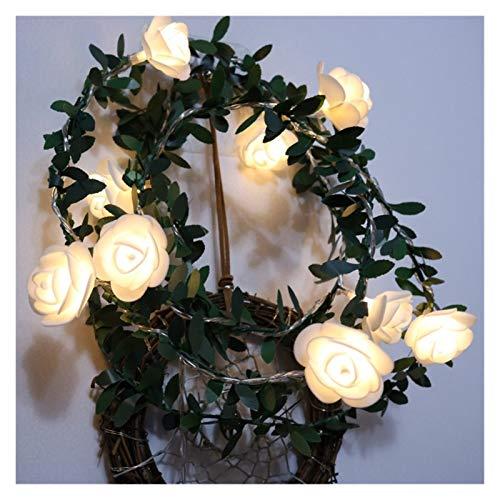DZHT 20/40 Leds Flor Rosa Led Luces De Cadena De Cuento De Hadas Con Pilas Boda Día De San Valentín Evento Fiesta Corona Decoración Brillante (Size : 6M)