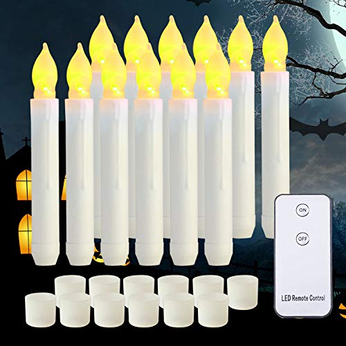 Raycare LED Flameless Taper Candles Battery Operated with Remote, Flameless Taper Window Candles Flickering Warm White Light, Set of 12 Fake Candles for Halloween, Christmas, Wedding