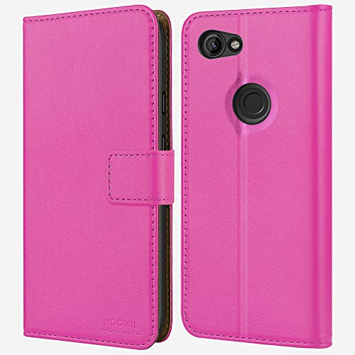 HOOMIL Google Pixel 3a Wallet Case,Google Pixel 3a Case,Premium Leather Folio 3a Case,Flip Book Style Wallet Cover with TPU Shockproof,Stand,Card Slots and Cash Pocket for Google Pixel 3a 2019 (Pink)