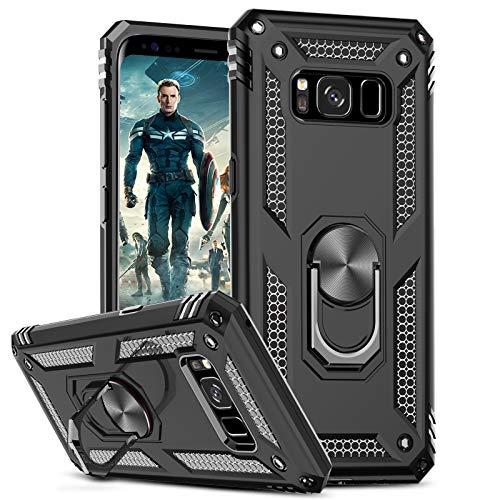 LeYi Coque Samsung Galaxy S8 avec Anneau Support, Militaire Double Couche Renforcée Défense Bumper TPU Silicone Antichoc Armure Protection Housse Etui pour Samsung S8 Noir