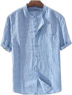 Mens Linen Cotton Shirt Casual Short Sleeve Button Down T Shirt Round Neck Lightweight Tee Summer Tops