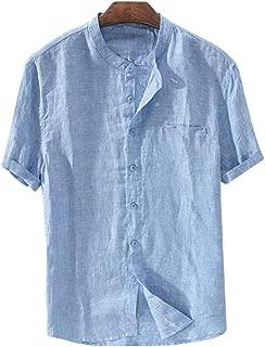 Mens Linen Shirts Summer Short Sleeve Button Down Banded Collar Casual Beach Loose Fit T Shirt